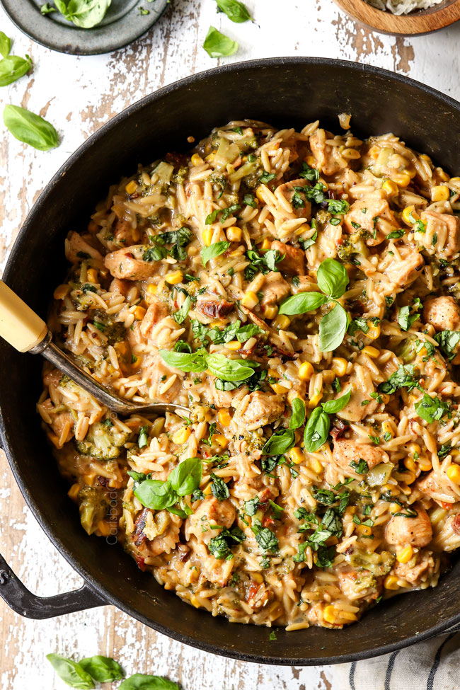 Creamy Basil Chicken and Orzo
