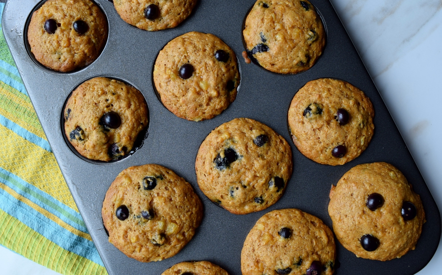 Healthy Pineapple Blueberry Muffins